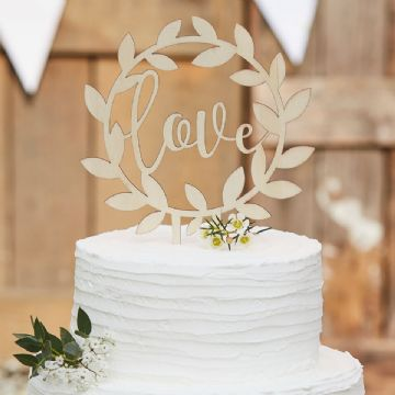 "Rustic Wooden ""Love"" Wedding Cake Topper"